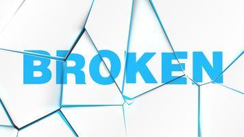 Mot de 'CASSÉ' sur une surface blanche brisée, illustration vectorielle vecteur