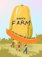 personnages de dessins animés d'agriculteurs avec des illustrations de récolte de fruits de papaye vecteur