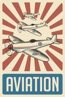 affiche d'aviation rétro vecteur