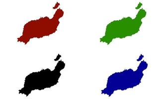 Carte de silhouette de l'île de Lanzarote en Espagne vecteur