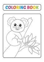 livre de coloriage pour les enfants, vecteur de koala