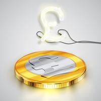 Pièce de monnaie avec personnage de néon, illustration vectorielle vecteur