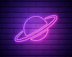 icône de la planète Saturne. éléments du web dans les icônes de style néon. vecteur