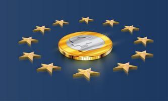 Drapeau de l'Union européenne étoiles et argent (livre), vecteur