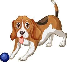 Caricature de chien beagle sur fond blanc vecteur