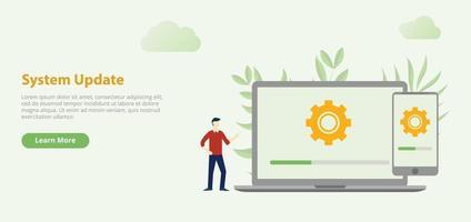 bannière de modèle de site Web de conception de mise à jour du système avec ordinateur portable vecteur