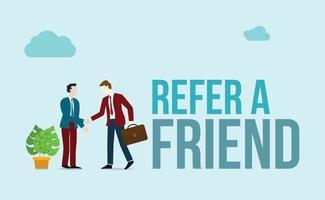 référer un concept d'ami avec du texte et des personnages d'affaires vecteur