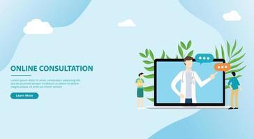 consultations de médecin en ligne pour la bannière de modèle de site Web vecteur