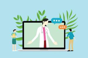 consultations de femme médecin en ligne avec médecin et patient vecteur