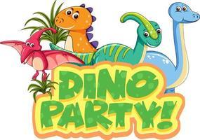 personnage de dessin animé mignon de dinosaures avec bannière de polices dino party vecteur