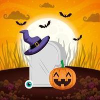 citrouille avec tombe et icônes halloween vecteur