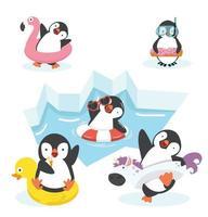 personnages de pingouins heureux dans un anneau gonflable vecteur