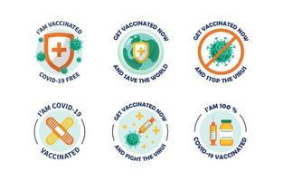 covid-19 après le pack d'autocollants de vaccin vecteur