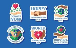ensemble d'autocollants de la journée humanitaire mondiale vecteur