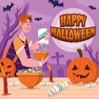 préparation avant halloween vecteur