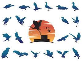 silhouette d'oiseaux avec dégradé de logo vecteur