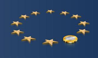 Drapeau UE, une étoile remplacée par une pièce euro, vecteur