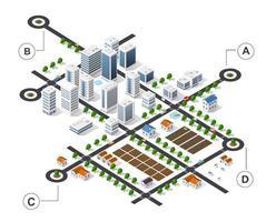 infographie isométrique de la ville il y a un diagramme, un bâtiment, vecteur