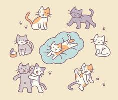 diverses actions d'un personnage de chat mignon. vecteur