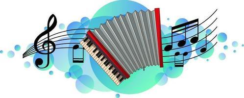 instrument de musique accordéon avec symboles de mélodie sur tache bleu ciel vecteur