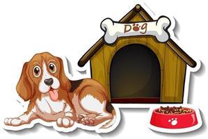 conception d'autocollants avec beagle debout devant la niche du chien vecteur