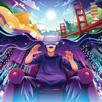concept de voyage touristique virtuel vecteur