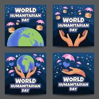 jeu de cartes de la journée humanitaire mondiale vecteur
