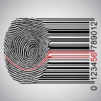 Empreinte digitale devenant un code à barres, illustration vectorielle vecteur