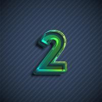 Caractère de police 3D vitreux, illustration vectorielle