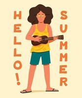 l'homme joue du ukulélé avec les mots sont bonjour l'été. vecteur