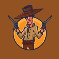 cow-boy tenant des revolvers. art conceptuel de l'ouest sauvage en style cartoon. vecteur
