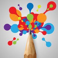 Un crayon avec des formes colorées, vector