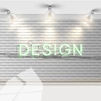 Mur de briques blanches avec réflecteurs, vector