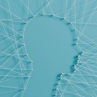 Illustration réaliste d'une tête faite par des épingles et des chaînes, vector