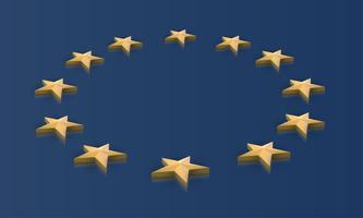 Drapeau de l'Union européenne étoiles en 3D, vector