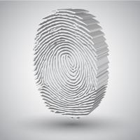 Empreinte digitale en illustration vectorielle 3D