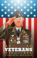 vieux soldat vétéran saluant le jour des anciens combattants vecteur