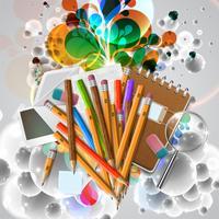 Articles de bureau ou d'école et des éléments sur fond blanc, vector