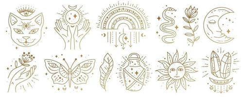 ensemble de symboles boho magiques. dessin au trait minimal doré. vecteur