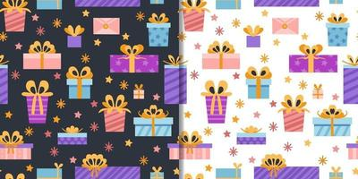 cadeaux de fête avec motif harmonieux et éléments de coffrets cadeaux mignons vecteur