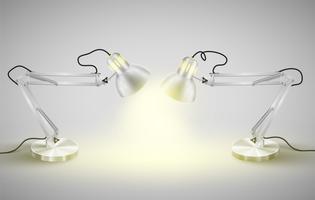 Lampes de table en métal réalistes, vector