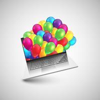 Ordinateur portable en cadeau avec des ballons colorés, vector