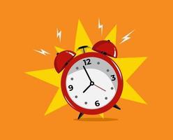 icône de l'heure de réveil du son du réveil rouge. fond orange design plat vecteur