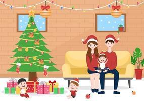 joyeux noël en famille il y a des mères, des pères, des enfants vecteur