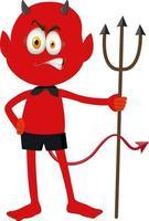 un personnage de dessin animé de diable rouge avec une expression faciale vecteur