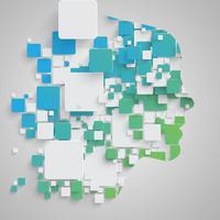 Visage faite de carrés colorés, vector