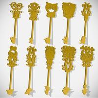 Dix clés différentes, vectorielles, 3D
