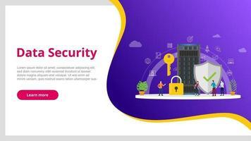 concept de sécurité des données avec personnes et serveur et base de données d'icônes sécurisée vecteur
