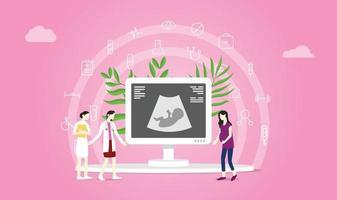 concept de maternité ou de grossesse avec consultation du médecin et du patient vecteur