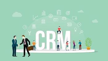concept de gestion de la relation client CRM avec les personnes et les entreprises vecteur